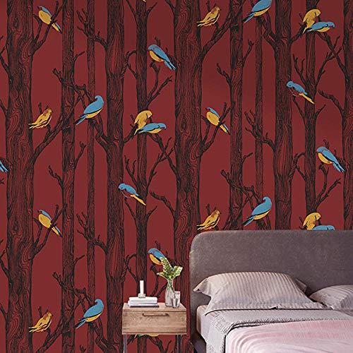 Nordic Birch Forest Wallpaper Vogelbaum Schlafzimmer Wohnzimmer Hintergrund Wände Wallpaper Rot Grün-Rot_9.5mx53cm
