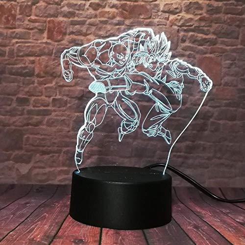 Luz de Noche 3D Anime Ilusión Lámparas de decoración LED 3D Lámpara de Regalo para Luz de Dormitorio Sensor táctil LED Lámpara de EscritorioLuz LED H de Dragon Ball Goku