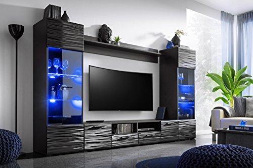KRYSPOL Wohnwand MODICA Anbauwand, Wohnzimmer-Set, Modern Design (Schwarz (Korpus) + Sahara Glanz (Fronten))