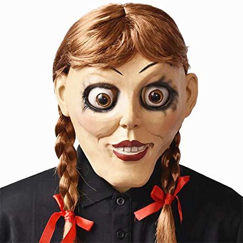 JinYiny Annabelle Disfraz Halloween Horror Miedo Vestido Blanco Manga Larga Rosa roja Pajarita Vestido Largo Largo para Mujeres Niñas
