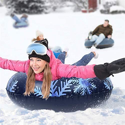 Bumplebee Aufblasbare Schlitten für Erwachsene Kinder, Snow Tube Reifen Verdicken Kälteschutz Schwerlast Schneereifen Rodelreifen mit Sicherheit Griffen (Mehrfarbig 3)