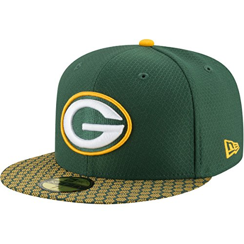 New Era 59Fifty Hat Green Bay Packers NFL 2017 On Field Sideline Green Fitted Cap (6 7/8)