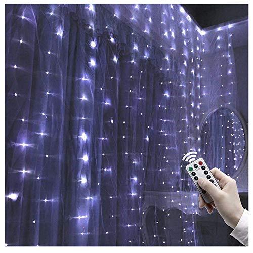 Kreative Party Hochzeit Vorhang Lichterkette USB Lichterkette mit Fernbedienung, Lichterkette,Lichterkette Batterie,10M 100 LED Lichterkette Außen, LED Outdoor Lichterkette Batterienbetrieben (B)