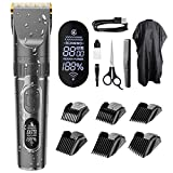 Hair Clippers for Men, Professional Cordless Hair Cutting Beard Trimmer Barbers Grooming Kit USB Rechargeable Waterproof with LED Display