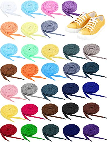 32 Pairs Flat Colored Shoe Laces Athletic Shoe Laces Strings for Sports Shoes Boots Sneakers Skates, 32 Colors (54 Inch)