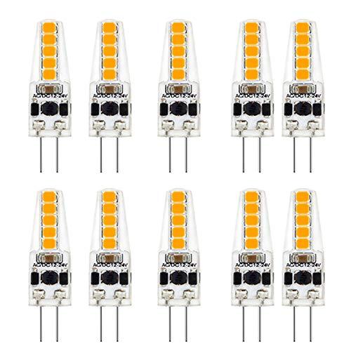SNOWINSPRING 10 Piezas G4 Bombilla LED AC / DC12V-24V AtenuacióN 2W LED G4 Luz 20LED Luz de áNgulo de Haz de 360 Reemplazo de LáMpara HalóGena de 20W, Blanco CáLido