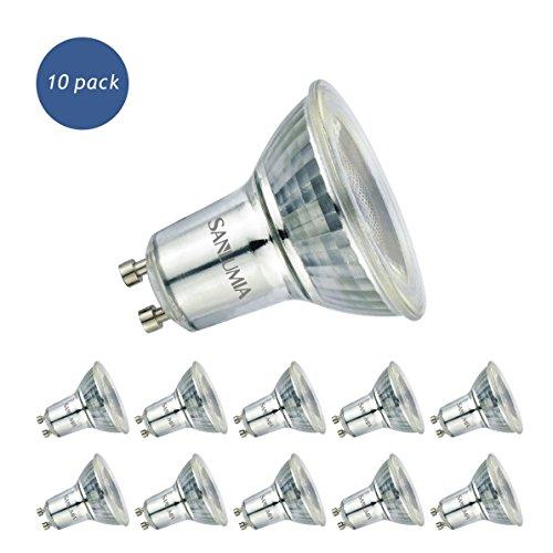 Sanlumia Bombillas LED GU10, 6W = 75W Halógena, 500Lm, Blanco Frío (6400K), Ultra Brillante, Iluminación de Techo para Cocina, Oficina, o Baño, 38° ángulo de haz,Paquete de 10