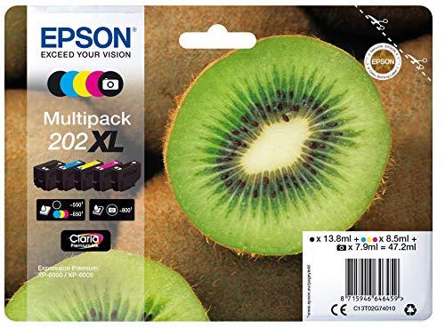 Epson 202 Serie Kiwi, Cartuccia Originale Getto d'Inchiostro Claria Premium, Formato XL, Multipack 5 Colori, con Amazon Dash Replenishment Ready
