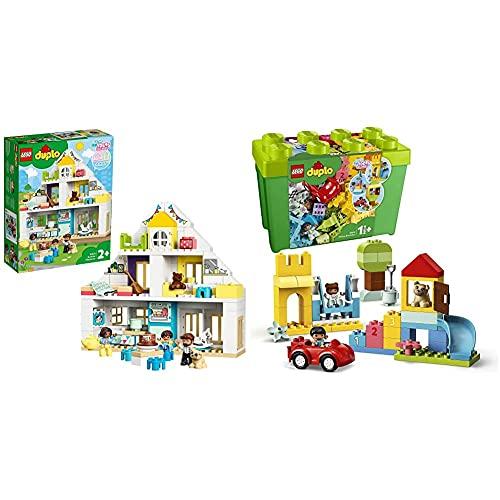 LEGO 10929 DUPLO Unser Wohnhaus 3-in-1 Set, Puppenhaus für Mädchen und Jungen ab 2 Jahren mit Figuren und Tieren & 10914 DUPLO Classic Deluxe Steinebox Bauset, Aufbewahrungsbox, erste Bausteine