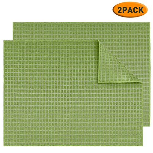 Microfiber Dish Drying Mat 2 Pack, Topsky 20 X 15 Inch Kitchen Counter Mats Reversible Baby Bottles Dish Dry Pad,Super Absorbent, Green