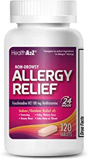 HealthA2Z Fexofenadine Hydrochloride 180mg, Antihistamine for Allergy Relief,Non-Drowsy,24-Hour, 120 Count Coated Caplets,Compare to Allegra Active Ingredient