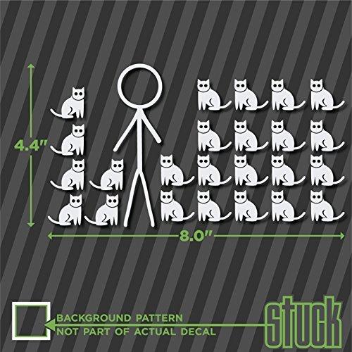 Crazy Cat Stick Figure Male Guy Man - 8' 4.4' - vinyl decal sticker bumper car family funny