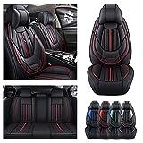 Juego completo de fundas de asiento de coche de lujo para Volvo V40 2012-2019, funda de cojín de piel sintética para vehículo, protectores impermeables compatibles con bolsa de aire (negro)