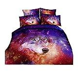 Galaxy Wolf Juego de cama Pink Red Purple Nebula Space Animal Funda de edredón Funda de...