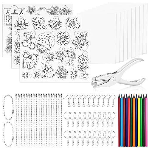 Faburo 75 Stück Schrumpffolie Set Bastelset mit Schlüsselanhänger 12 Stück Plastikfolie Buntstiften Ohrhaken Schlüsselring 20 Kette für DIY Geschenk Ohrring Handwerk Dekorationen