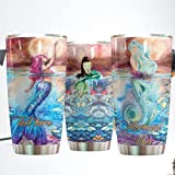 Personalized Mermaid Vibes Stainless Steel Tumbler Perfect Gifts For Mermaid Lover Tumbler Cups For Coffee/Tea, Great Customized Gifts For Birthday Christmas Thanksgiving -  Hausler