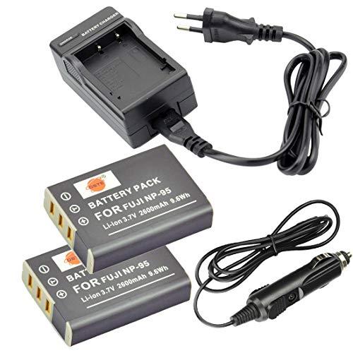 DSTE®(2 Pack)Ersatz Batterie und DC29E Reise Ladegerät Compatible für Fujifilm NP-95 FinePix F30 F31fd Real 3D W1 X30 X100T X100LE X100S X-S1 and Compatible with RICOH DB-90 GXR GXR Mount A12 GXR P10
