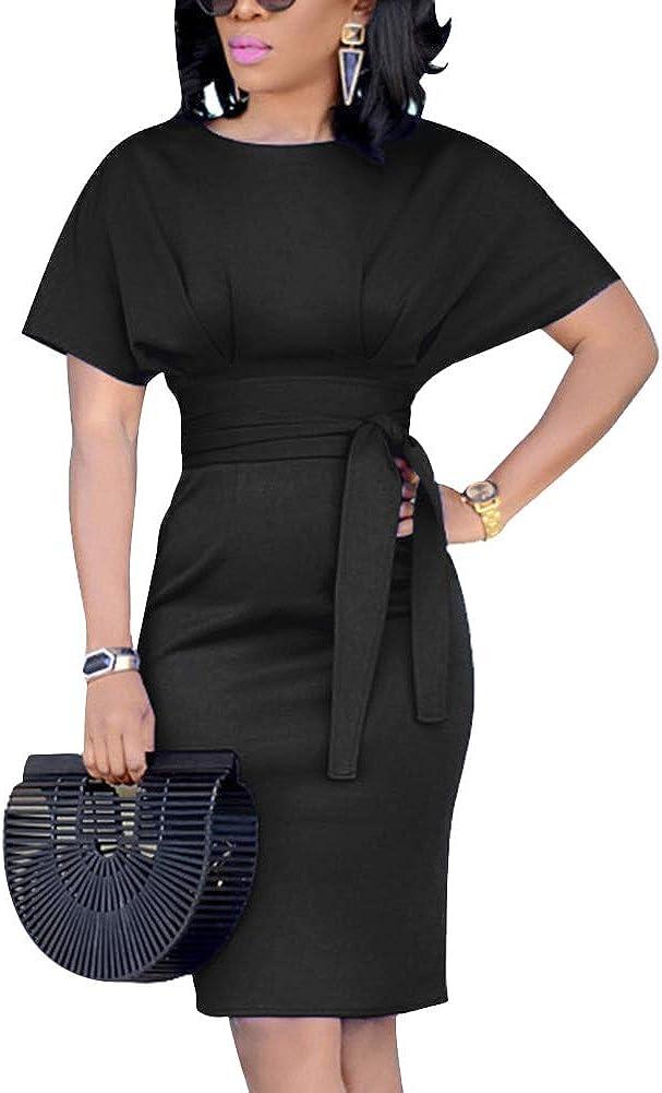 ECHOINE Women's Elegant Pencil Midi Dress Short Sleeve Party Cocktail Dresses with Belt