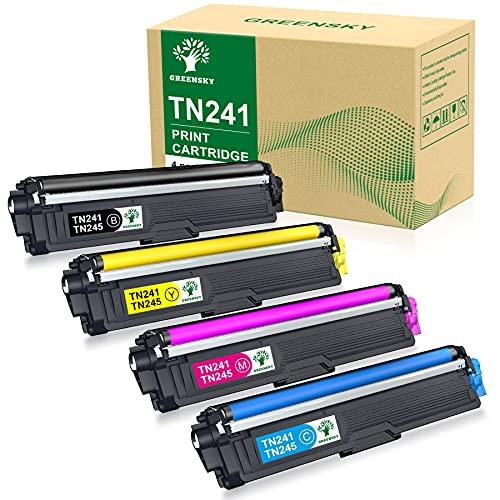 GREENSKY Kompatible Toner kartusche Ersatz für Brother TN241 TN245 für HL-3140CW MFC-9332CD DCP-9022CDW DCP-9020CDW MFC-9140CDN MFC-9142CDN DCP-9015CDW HL-3152CDW HL-3170CDW (4 Packung)