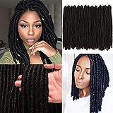 7 Packs Dreadlocs Faux Locs Hair Extensions 14 Inch Black Straight Goddess Locs Synthetic Crochet Hair Soft Crochet Braids (14 Inch, 1B#)