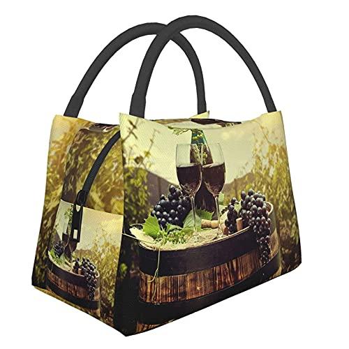 Bolsa aislante portátil, botella de vino tinto y copa de vino en barril de madera 56 Bolso impermeable para almuerzo Contenedor de comida para viajes