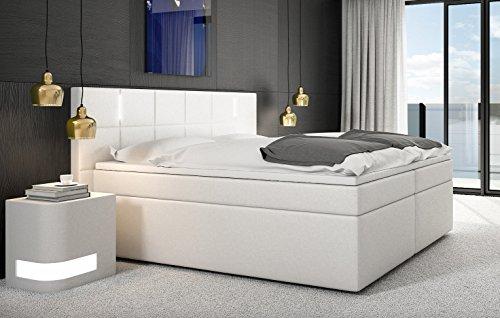 SAM® Cama boxspring Sapri 180x200 cm con LED, Blanco, Base con resortes...
