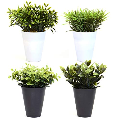 INtrenDU 4 x Kunstpflanze im Topf klein im Set 16-18cm Büro Schreibtisch Deko Kunstblumen