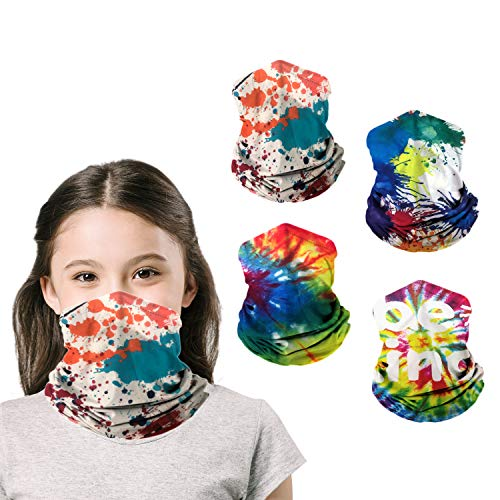 Kids Neck Gaiters Face Masks for Coronavịrus Protection Kids Gaiter masks Balaclava UV Protection Bandanas Boys Girls 4Pcs(multicolored)