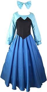 The Little Mermaid Dress Cosplay Costume Ariel Princess Dress Vest Bow Headdress 3pcs