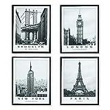 D&CASA collection Set da 4 Quadri su Tela 40x50 cm, Quadro New York, London, Paris e Brook...
