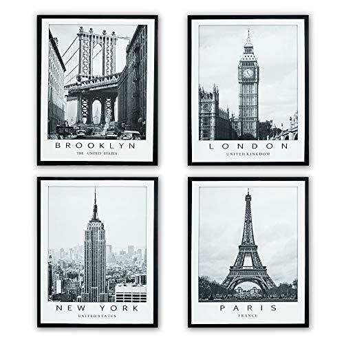 D&CASA collection Juego de 4 cuadros sobre lienzo con marco interior de madera, 40 x 50 cm, cuadro Nueva York, Londres, Paris y Brooklyn, impresión sobre lienzo (ciudad)