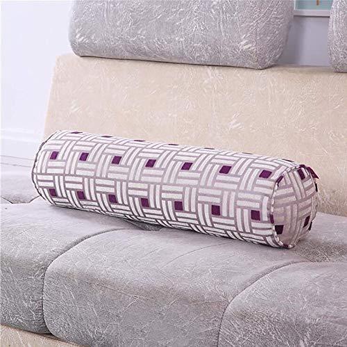 BYOUQ Almohada cilíndrica Larga Relleno de algodón PP extraíble Protege la Columna Cervical Refuerzo Redondo Cojín Almohada de Cuello Redondo Descansos relajantes Sencillo/Doble G,20 * 100cm