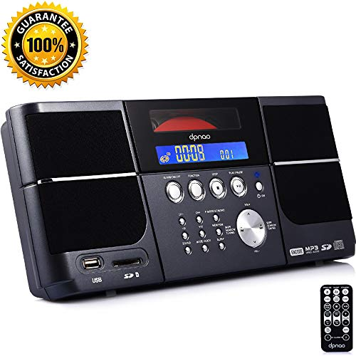 DPNAO Cd Player Portable Boom Box with Clock FM Radio Clock USB SD Aux Line-in for Home Kids