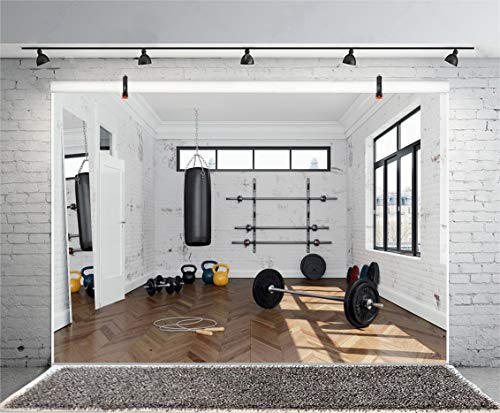Yeele 5x3ft Gym Backdrop Photography Gymnasium Barbell Weightlifting Rope Skipping Sandbag Interior Sports Fitness White Brick Wooden Floor Background Sport Theme Photoshoot Studio Props Wallpaper