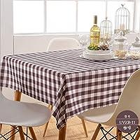 キッチンツール テーブルクロステーブルクロスコーヒーテーブルクロスタオルサークルテーブルクロスマルチカラースモールスクエア ジン・ジA (Color : Brown, Size : 140cm*200cm)