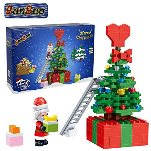 BanBao Holiday Christmas Tree Winter Building Blocks for Kids Puzzle Assembly Model Toys Tree Blocks Merry Christmas Creative Early Education (5316)