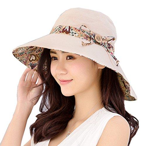 FLYFISH Mesdames Seau été Chapeau de Plage Pliable Chapeau de Plage Large Bord UPF50 + Packable pour Les Femmes (C)