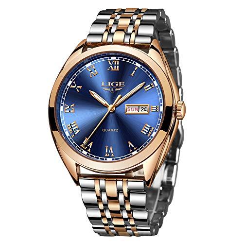 LIGE Reloj Hombres Moda Impermeable Acero Inoxidable Deportes Analógico Cuarzo Reloj Hombres Lujo Negocios Oro Fecha Automática Reloj