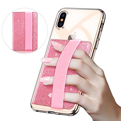 CLARKCAS Credit Card Holder Glitter, RFID Blocking Phone Wallet Stick On Flip Cell Phone Card Holder with Elastic Hand Strap for Women Girls (Pink)