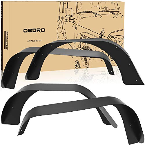 oEdRo Solid Steel Fender Flares Compatible with 1987-1996 Jeep Wrangler YJ, Off-Road Front & Rear 4 PCS Set Flat fenders (Some Drilling May be Required)