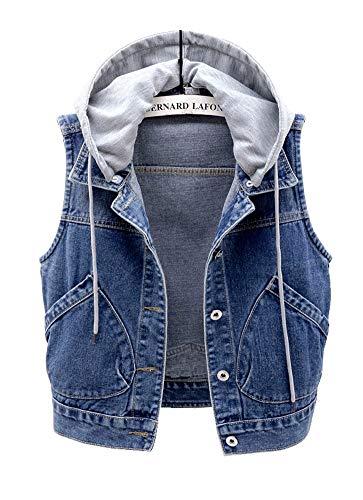 CYSTYLE Damen Jeansweste Jacke Ärmellos Einfache Beiläufige Jeansweste Denim Weste mit Kapuze (Blau, L)
