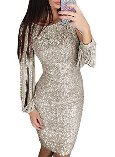Classy Sequin Tassel Sleeve Party Dress