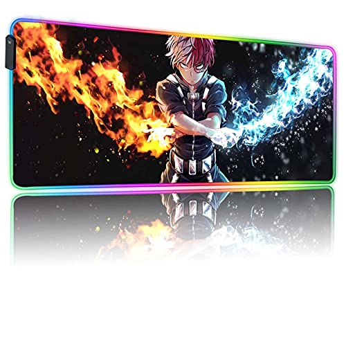 RGB Anime Mouse Pad My Hero Academia Todoroki-Cool Mousepad with 12 Lighting Modes & Non-Slip Rubber Base,Glowing Long Laptop Desk Pad,Computer Keyboard and Mice Combo Pads Mouse Mat 31.5X11.8 inch