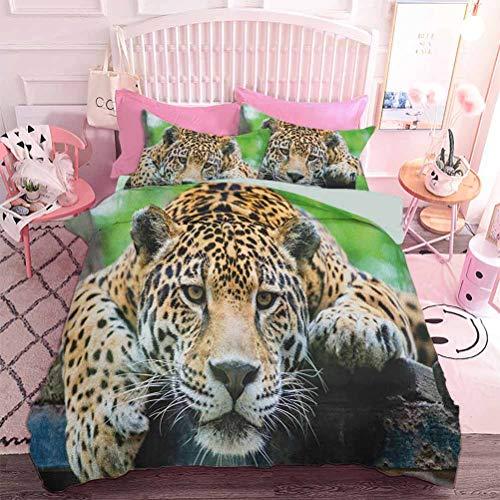 Juego de 3 piezas para todas las estaciones del Sur American Jaguar Wild Animal Carnivore en peligro Feline Safari Imagen (3 piezas, tamaño completo) 1 funda de edredón y 2 fundas de almohada