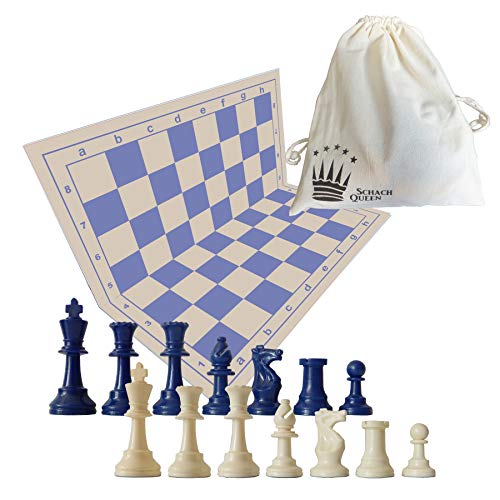 SchachQueen - E685 - Jeu d'échecs et pièces et Sac en Corde de Coton - Bleu/Beige/Blanc - King Hauteur 97 mm, Taille du Champ 57 mm