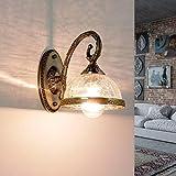 Lámpara de pared de estilo modernista en latón E14, pantalla de cristal, lámpara de pared para salón o dormitorio