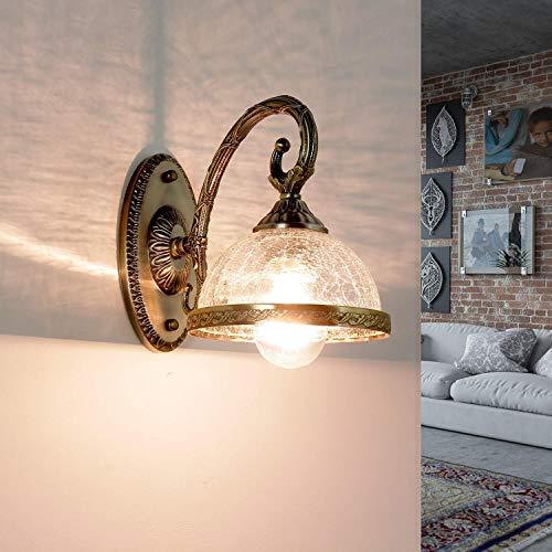 Klassische Wandleuchte Innen in Messing Glas Lampenschirm Jugendstil Design E14 Wandlampe Schlafzimmer CHARLES