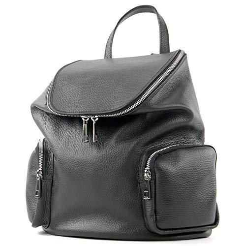 modamoda de - T175 - ital Damen Rucksack Tasche aus Leder, Farbe:Schwarz