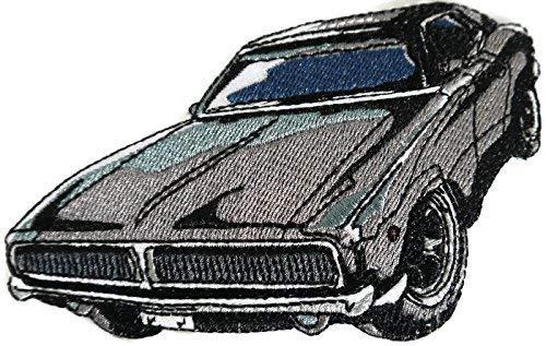 BeyondVision klassieke auto's, verzameling geborduurde ijzeren naaien vlekken 6 x 3,5 grijs, zwart, wit, rood