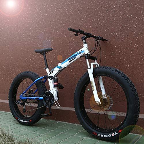 DRAKE18 Bicicleta de Grasa Plegable, 21 Speed Bicicleta de montaña Nevada, Absorción de Choque Doble, Freno de Disco Doble, Bicicleta Todoterreno con neumáticos Gruesos para Adultos,Azul,24IN